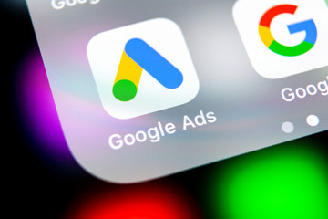 Sankt-Petersburg, Russia, August 16, 2018: Google Ads AdWords application icon on Apple iPhone X screen close-up. Google Ad Words icon. Google ads Adwords application. Social media network