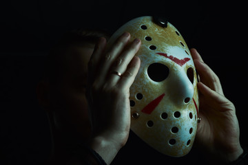 Men's hockey mask, killer costume. Halloween day concept. holiday day of the dead