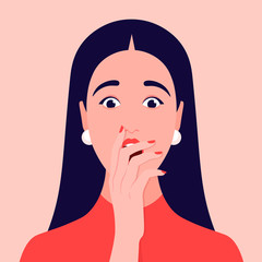 Portrait of a surprised woman. Face of shocked girl with hand over open mouth. Avatar. Vector flat illustration
