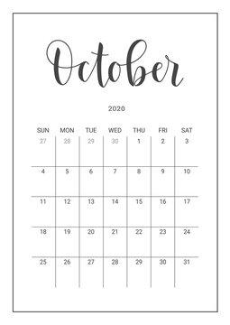 Vector Calendar Planner for October 2020. Handwritten lettering. Week Starts Sunday. Stationery Design for Printable.