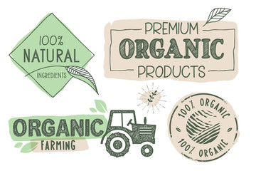 Organic food, farm fresh and natural products labels and stickers collection. Vector illustration for food market, e-commerce, restaurant, healthy life and premium quality food and drink promotion.