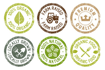 Organic food, farm fresh and natural products stickers collection. Vector illustration for food market, e-commerce, restaurant, healthy life and premium quality food and drink promotion.
