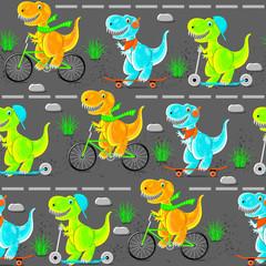 Dinosaur teens ride a bike, scooter, skateboard. Funny cartoon characters