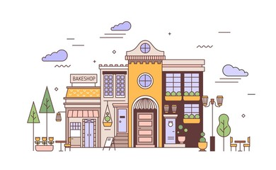 Fototapete - Urban landscape with facades of exquisite European building and bakery. Street view of city district with elegant house and bakeshop or bakehouse. Colorful vector illustration in line art style.