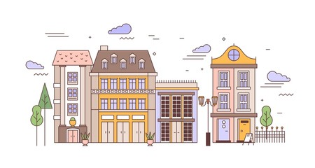 Fototapete - Urban landscape with district with elegant residential buildings of European architecture. Cityscape with stylish living houses, street lights, trees. Colorful vector illustration in line art style.