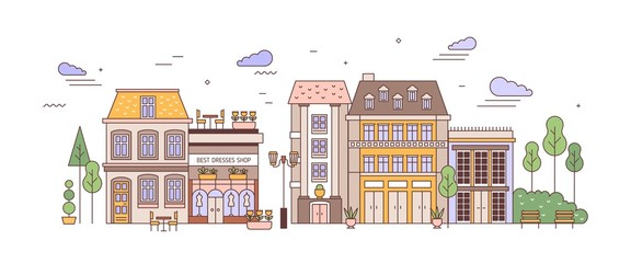 Fototapete - View of city or town street with exquisite antique residential buildings of European architecture. Urban landscape or cityscape with living houses. Colorful vector illustration in linear style.