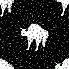 Angry white cat arched his back. Around him are lightning and stars. Seamless pattern.