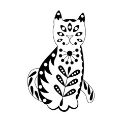 Ornamented abstract cat. Scandinavian style pattern. Black and white illustration.