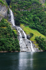 beautiful in geiranger fjord waterfall