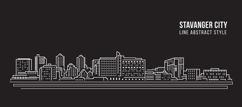 Cityscape Building Line art Vector Illustration design - Stavanger city