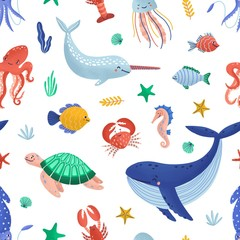 Wall Mural - Seamless pattern with funny marine animals or underwater creatures living in ocean. Seabed fauna on white background. Flat cartoon vector illustration for fabric print, wrapping paper, wallpaper.