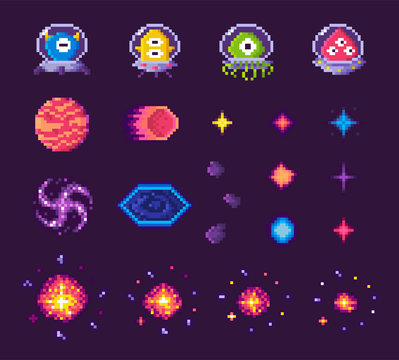 Pixel art game icons vector, 8 bit graphics of retro gaming, aliens of different form and planets, space theme, stars and explosions starry sky flat style, pixelated cosmic object for mobile app games