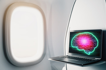 Laptop closeup inside airplane with brain drawing pic on screen. Data analysis and ai concept. 3d rendering.