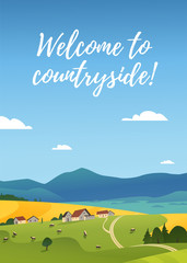 Foto auf Leinwand Pool Vector flat landscape illustration of summer countryside nature view: sky, mountains, cozy village houses, cows, fields and meadows. For farm product packaging, sticker design, banner, flayer etc.