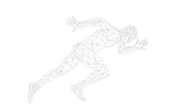 start running sprinter runner man athlete polygonal wireframe