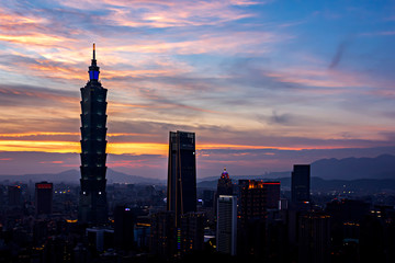 Wall Mural - Landscape of Taipei city doing sunset time, Taiwan.