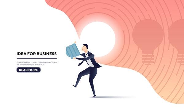 businessman carry idea (light bulb) for business.