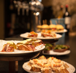 Close-up view of wide variety of tapas in Spain