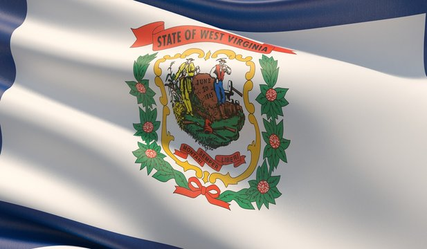 High resolution close-up Flag of West Virginia - United States of America states flags collection. 3D illustration.