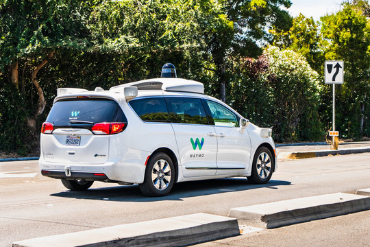 August 8, 2019 Palo Alto / CA / USA - Waymo self driving car performing tests on a street in Silicon Valley; Waymo, a subsidiary of Alphabet (and Google parent co), is developing an autonomous car
