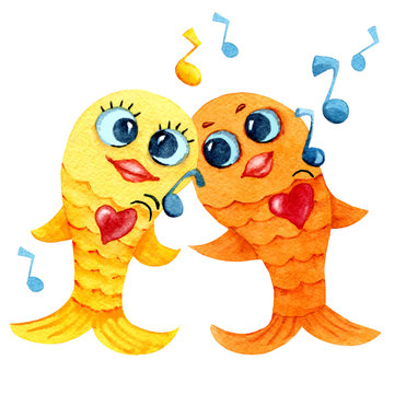 Singing and dancing goldfish. Cartoon character in watercolor. Children's drawing with fish, notes and player for the design of print, background, cover, wallpaper, packaging, bedding, scrapbooking