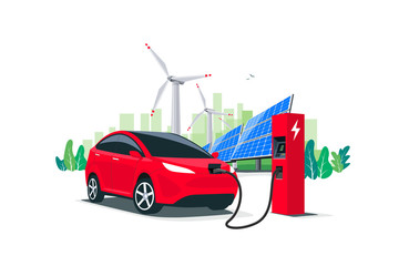 Electric suv car charging at the charger station with a young man holding the cable. Renewable energy wind turbines and solar panels city skyline in background. Isolated vector illustration concept.