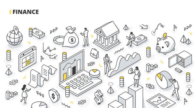 Finance Isometric Line Illustration
