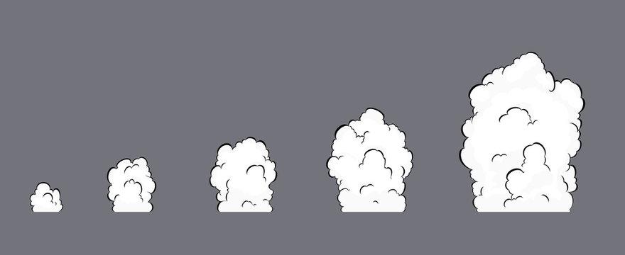 Smoke explosion animation. Smoke Animation. Explosion animation. Sprite sheet for game, cartoon or animation.