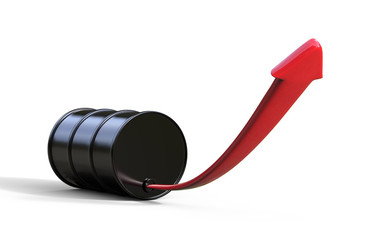 Oil barrel with an arrow, concept of price rise in crude oil, 3d illustration