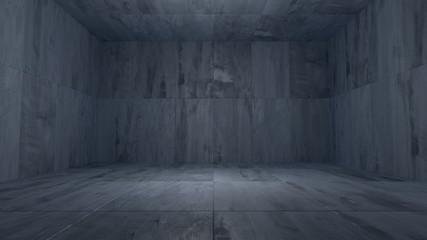 Dark Concrete Room Background (3D Illustration)