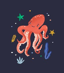 Wall Mural - Happy octopus isolated on dark background. Lovely marine animal, cute funny mollusc, seabed dweller, underwater creature. Exotic fauna of tropical sea or ocean. Flat cartoon vector illustration.