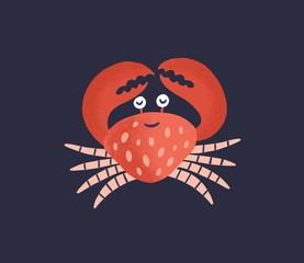Wall Mural - Cute smiling crab isolated on dark background. Happy marine animal, adorable crustacean, sea world dweller, underwater creature. Exotic fauna of tropical ocean. Flat cartoon vector illustration.