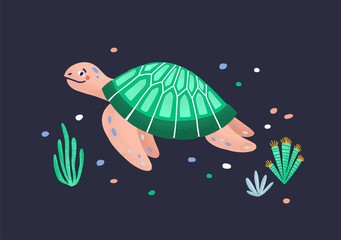 Wall Mural - Funny amusing sea turtle isolated on dark background. Joyful marine reptile, adorable underwater animal, sea world creature. Exotic fauna of tropical ocean. Flat cartoon colorful vector illustration.