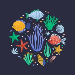 Wall Mural - Round composition with happy marine animals or funny underwater creatures living in sea. Circular decorative design element with ocean fauna. Flat cartoon vector illustration for wrapping paper.