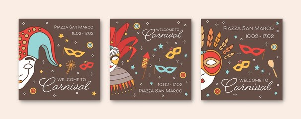 Collection of square card or party invitation templates with traditional Venetian masks and costumes for carnival, Mardi Gras show, performance or masquerade ball. Vector illustration in linear style. Wall mural