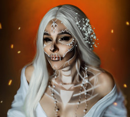woman with creative professional makeup Calavera Catrina. The image of a gray-haired witch in a white, vintage, wedding dress. Unusual make-up with beads pearls. Black scleral lenses for the whole eye