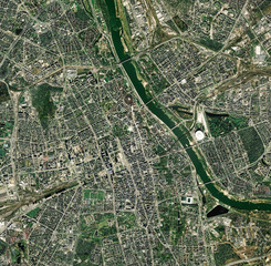 Printed kitchen splashbacks Nasa High resolution Satellite image of Warsaw, Poland (Isolated imagery of Poland. Elements of this image furnished by NASA)