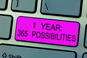 Text sign showing 1 Year 365 Possibilities. Conceptual photo Beginning of a New Day Lots of Chances to Start.