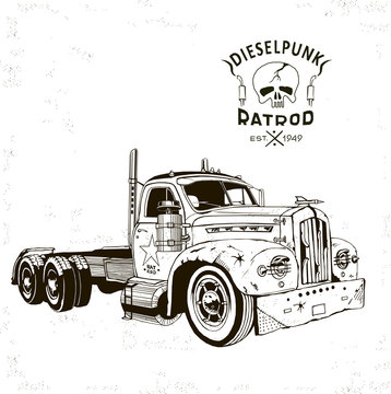 diesel punk hot rod truck2, isolated, vector arts, kustom kulture, post apocalypse zombie war