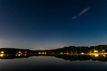 Starry night over the lake