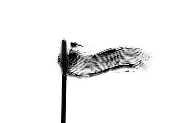Black mascara brush stroke makeup close up