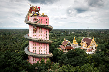 Wall Murals Place of worship Bangkok, Thailand, Aerial View of Wat Samphran Dragon Temple
