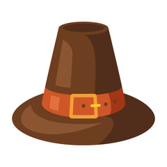 Happy Thanksgiving illustration of pilgrim hat.