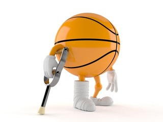 Basketball character with broken leg