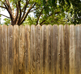 Privacy and security provided by a rustic wood backyard fence with green shade trees background