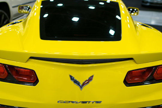 Sankt-Petersburg, Russia, July 21, 2017: Back view of a yellow Chevrolet Corvette Z06. Car exterior details.