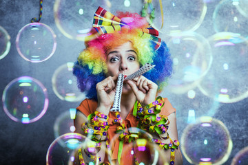 Frau Clown Hintergrund Fasching Konfetti Bubble