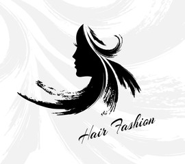 Hair fashion emblem. Woman head silhouette with creative hairstyle from paint brush strokes