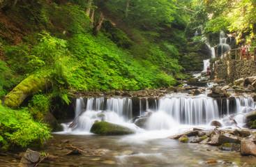 Foto op Canvas Landscape of waterfall Shypit in the Ukrainian Carpathian Mountains on the long exposure