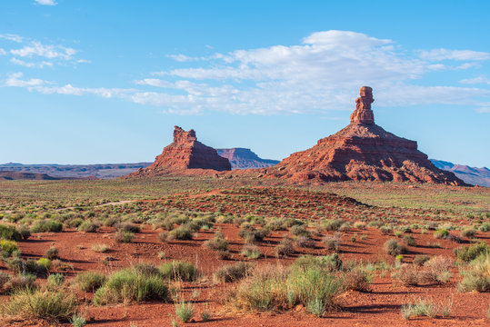 Valley of the Gods landscape of large red buttes and desert greenery in Bears Ears National Monument